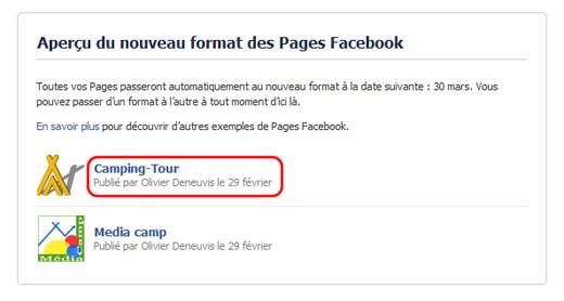 Procédure d'activation de la Timeline Facebook