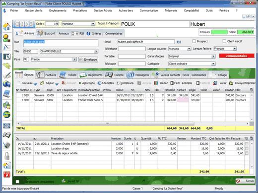 Capture d'écran du logiciel Sydevcamp