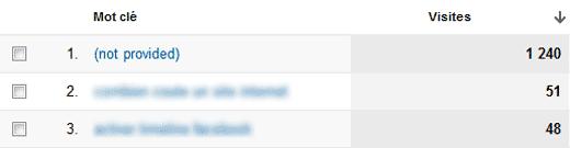 Capture d'écran Google analytics