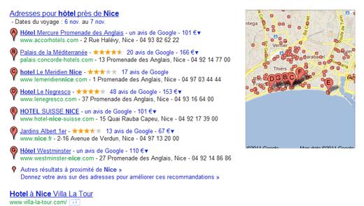 Exemple de recherche locale Google