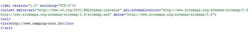 Extrait de sitemap au format XML
