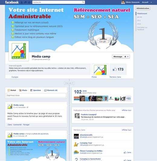 Page Facebook avec le nouveau format Timeline